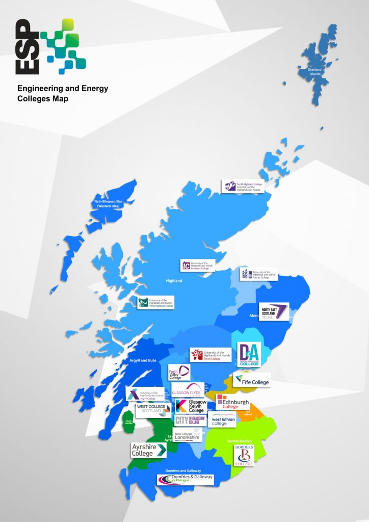Map of Engineering colleges in Scotland