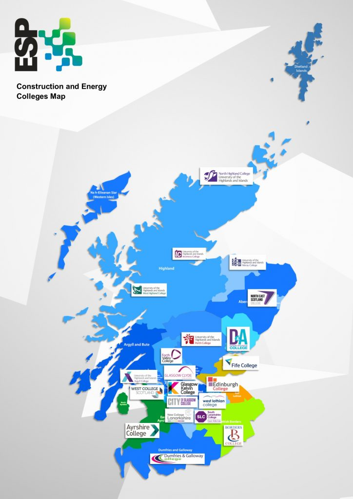 Map of Construction colleges in Scotland