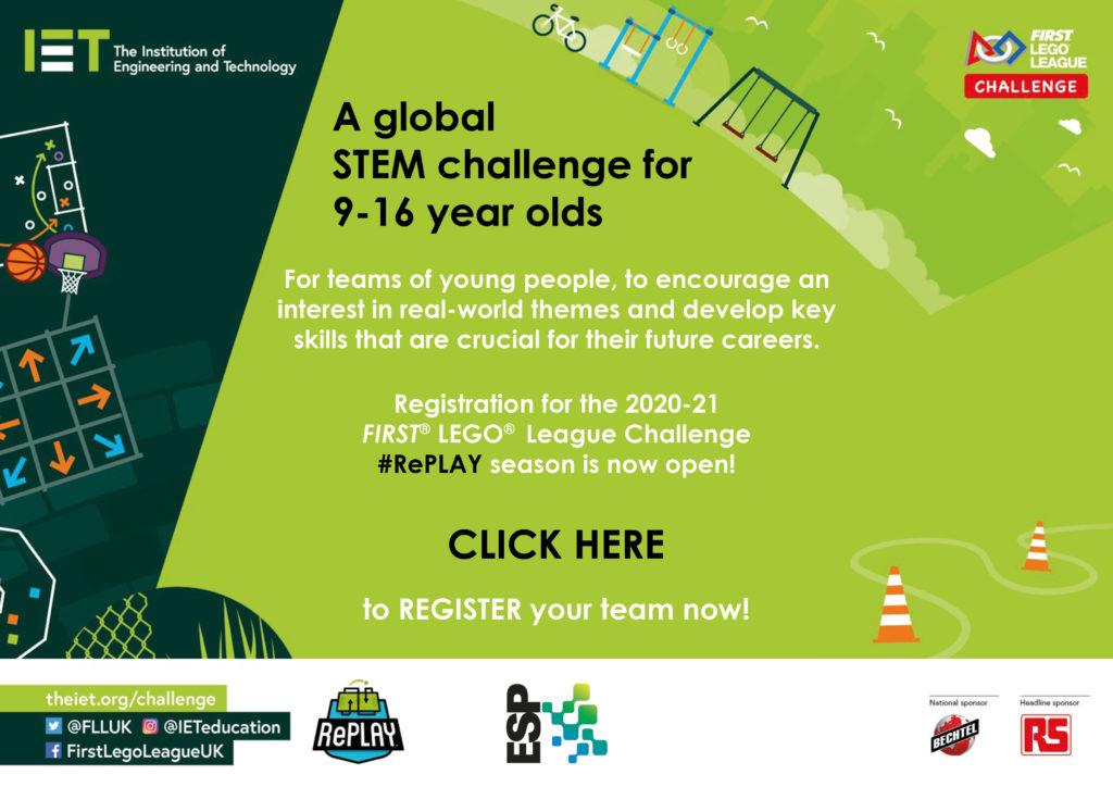 IET First Lego League Register poster